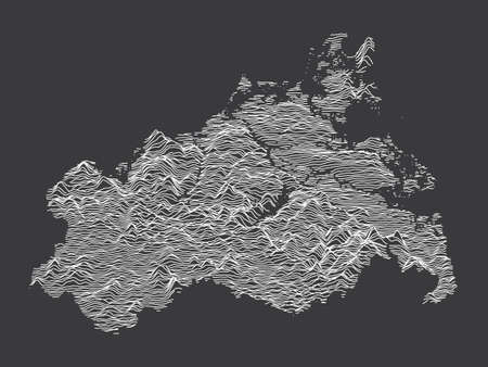 Dark Black and White 3D Contour Topography Map of German Federal State of Mecklenburg-Western Pomerania