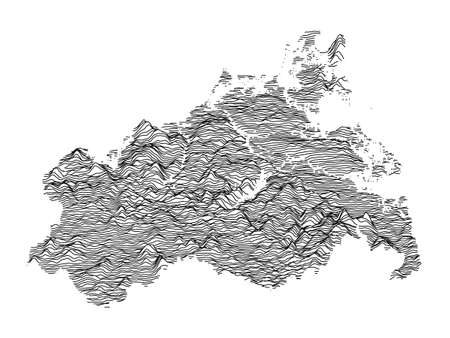 Black and White 3D Contour Topography Map of German Federal State of Mecklenburg-Western Pomerania Çizim