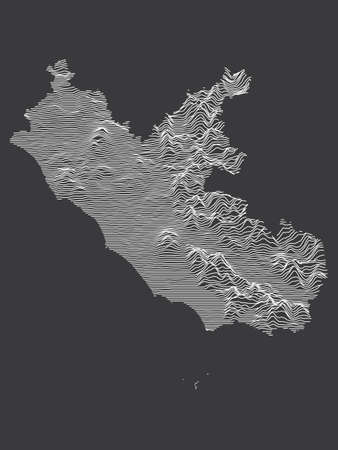 Dark Black and White 3D Contour Topography Map of Italian Region of Lazio