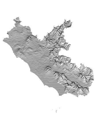 Black and White 3D Contour Topography Map of Italian Region of Lazio