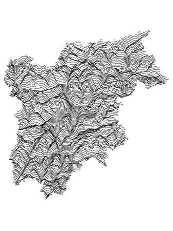 Black and White 3D Contour Topography Map of Italian Region of Trentino-South Tyrol
