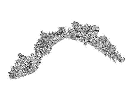 Black and White 3D Contour Topography Map of Italian Region of Liguria