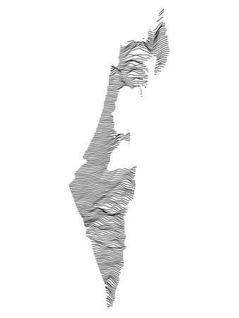 Black and White 3D Contour Topography Map of Middle Eastern Country of Israel Illusztráció