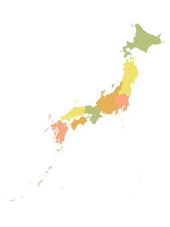 Pastel Colored Flat Regions Map of Asian Country of Japan 일러스트