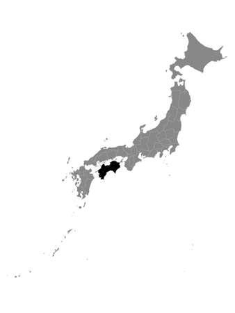 Black Location Map of Japanese Region of Chugoku within Grey Map of Japan