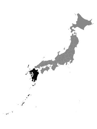 Black Location Map of Japanese Region of Kyushu within Grey Map of Japan Illustration