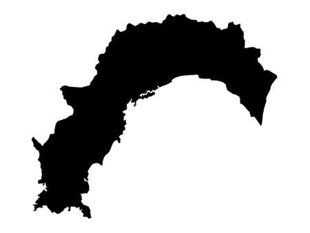 Black Flat Map of Japanese Prefecture of Kochi