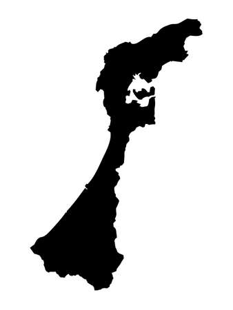 Black Flat Map of Japanese Prefecture of Ishikawa Vektorové ilustrace