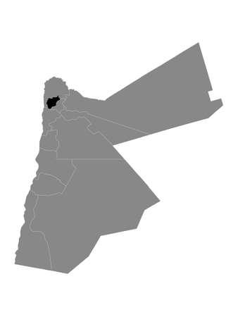 Black Location Map of Jordanian Governorate of Ajloun within Grey Map of Jordan