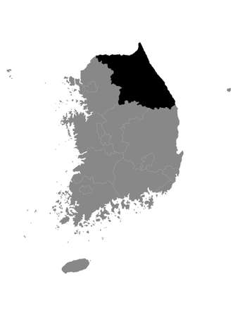 Black Location Map of South Korean Province of Gangwon within Grey Map of South Korea