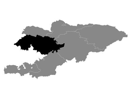 Black Location Map of the Kyrgyz Region of Jalal-Abad within Grey Map of Kyrgyzstan