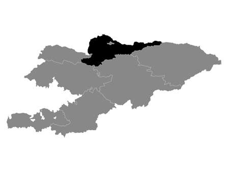 Black Location Map of the Kyrgyz Region of Chuy within Grey Map of Kyrgyzstan  イラスト・ベクター素材