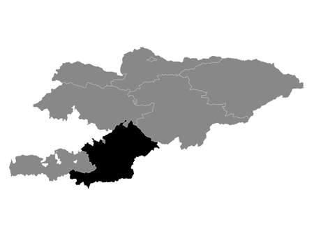 Black Location Map of the Kyrgyz Region of Osh within Grey Map of Kyrgyzstan  イラスト・ベクター素材