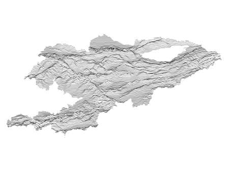 Black and White 3D Contour Topography Map of Asian Country of Kyrgyzstan