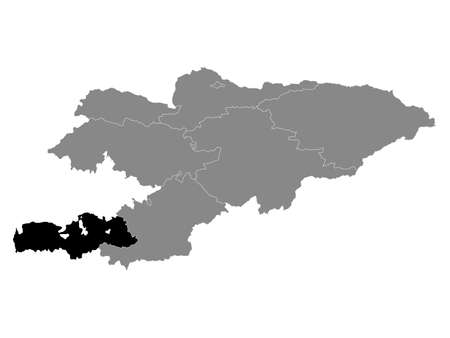 Black Location Map of the Kyrgyz Region of Batken within Grey Map of Kyrgyzstan