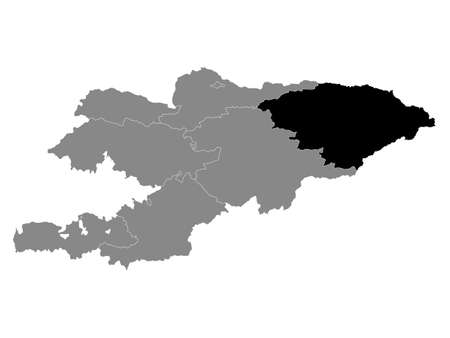 Black Location Map of the Kyrgyz Region of Issyk-Kul within Grey Map of Kyrgyzstan
