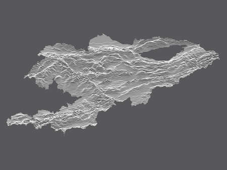 Dark Black and White 3D Contour Topography Map of Asian Country of Kyrgyzstan