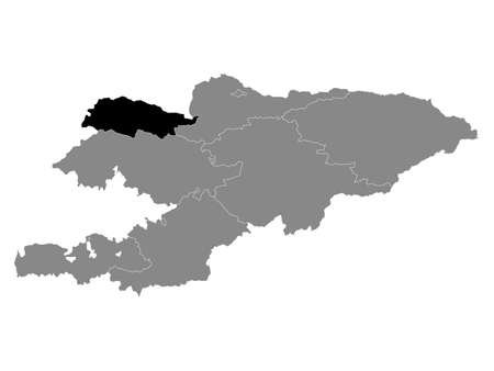 Black Location Map of the Kyrgyz Region of Talas within Grey Map of Kyrgyzstan