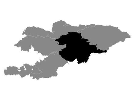 Black Location Map of the Kyrgyz Region of Naryn within Grey Map of Kyrgyzstan