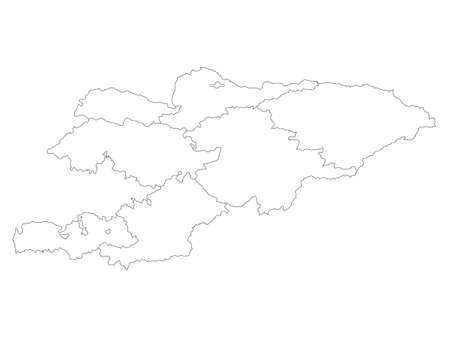 White Flat Regions and Special Cities Map of Asian Country of Kyrgyzstan