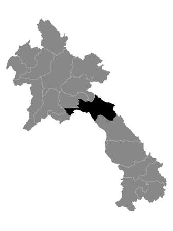 Black Location Map of the Laotian Province of Bolikhamsai within Grey Map of Laos