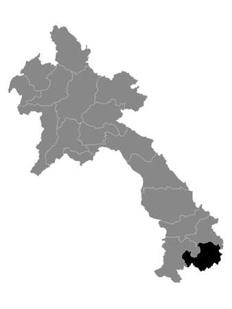 Black Location Map of the Laotian Province of Attapeu within Grey Map of Laos  イラスト・ベクター素材