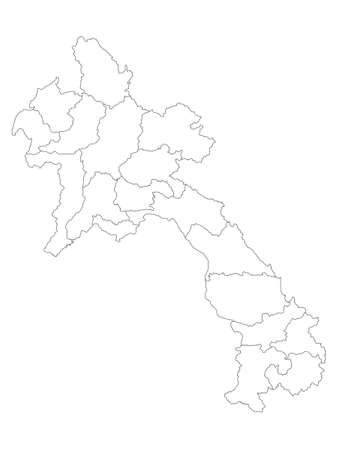 White Flat Provinces Map of Asian Country of Laos  イラスト・ベクター素材