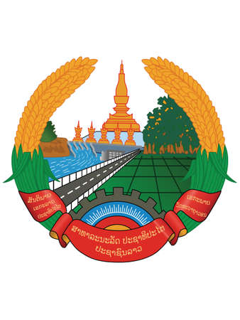 Flat Vector Illustration of the National Emblem of People's Democratic Republic of Laos