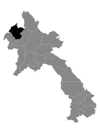 Black Location Map of the Laotian Province of Luang Namtha within Grey Map of Laos
