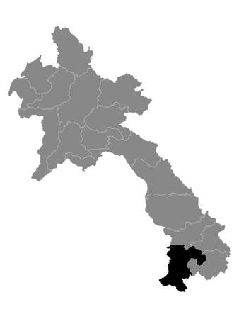 Black Location Map of the Laotian Province of Champasak within Grey Map of Laos  イラスト・ベクター素材