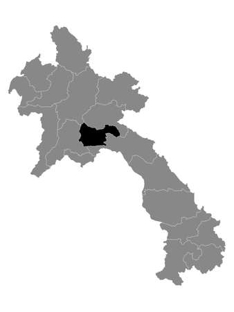 Black Location Map of the Laotian Province of Xaisomboun within Grey Map of Laos  イラスト・ベクター素材