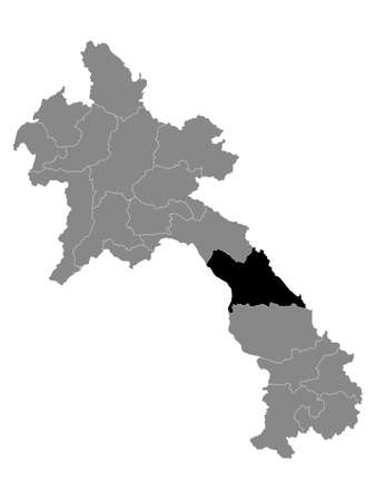 Black Location Map of the Laotian Province of Khammouane within Grey Map of Laos