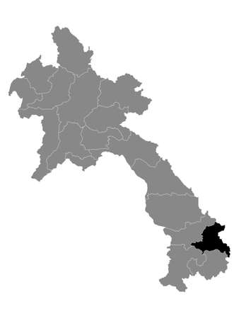 Black Location Map of the Laotian Province of Sekong within Grey Map of Laos