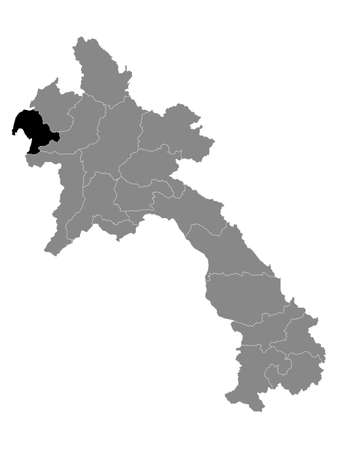 Black Location Map of the Laotian Province of Bokeo within Grey Map of Laos