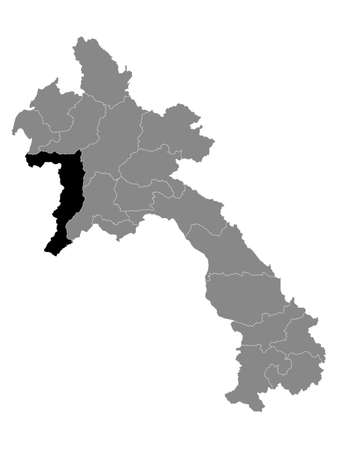 Black Location Map of the Laotian Province of Sainyabuli within Grey Map of Laos