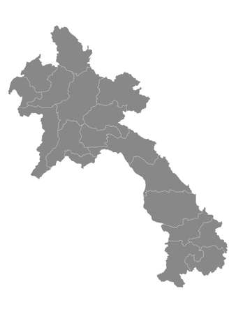 Grey Flat Provinces Map of Asian Country of Laos