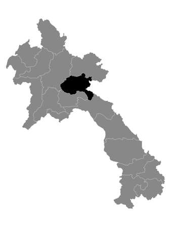 Black Location Map of the Laotian Province of Xiangkhouang within Grey Map of Laos