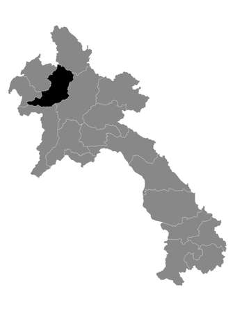 Black Location Map of the Laotian Province of Oudomxay within Grey Map of Laos