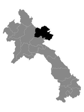 Black Location Map of the Laotian Province of Houaphanh within Grey Map of Laos