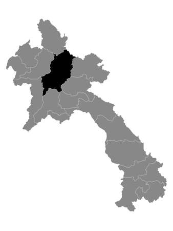 Black Location Map of the Laotian Province of Luang Prabang within Grey Map of Laos  イラスト・ベクター素材
