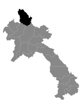 Black Location Map of the Laotian Province of Phongsaly within Grey Map of Laos Иллюстрация