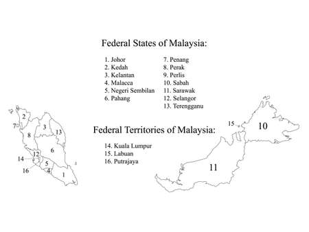 White Labeled Flat States Map of Asian Country of Malaysia Illustration