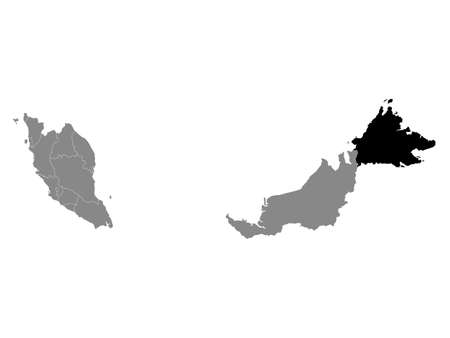 Black Location Map of the Malaysian State of Sabah within Grey Map of Malaysia Standard-Bild - 152974658