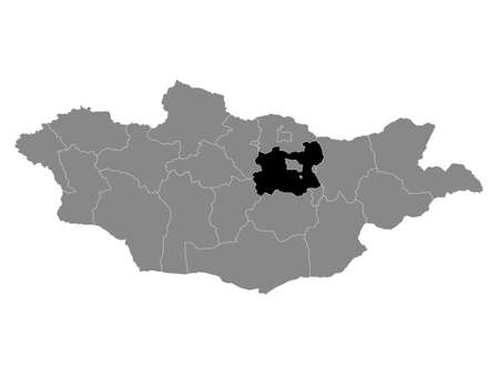 Black Location Map of the Mongolian Province of Töv within Grey Map of Mongolia