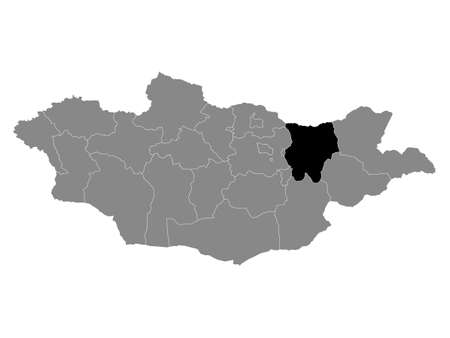 Black Location Map of the Mongolian Province of Khentii within Grey Map of Mongolia