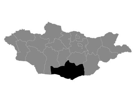 Black Location Map of the Mongolian Province of Ömnögovi within Grey Map of Mongolia