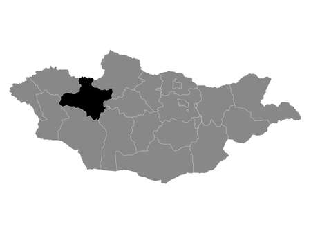 Black Location Map of the Mongolian Province of Zavkhan within Grey Map of Mongolia Stock Illustratie