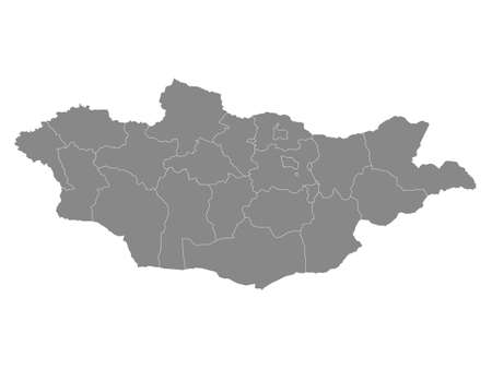 Grey Flat Provinces Map of Asian Country of Mongolia