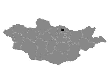 Black Location Map of the Mongolian Province of Darkhan-Uul within Grey Map of Mongolia 向量圖像