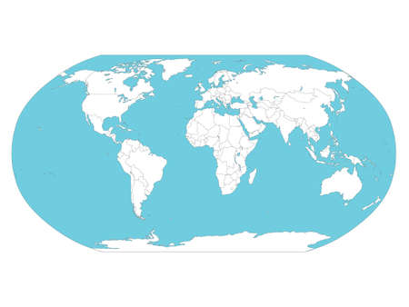 Vector Illustration of the Map of the World (Blue Oceans and White Continents)